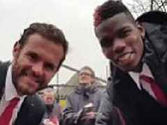 Man United's Pogba and Mata make young disabled fan's day