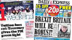 The papers: 'Green light' for tuition fees cut and 'robust' Brexit Britain
