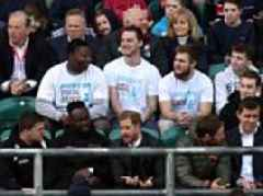 Prince Harry watches the England rugby team at Twickenham