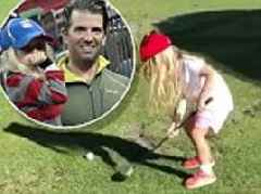Don Jr enjoys a daddy-daughter day with budding golfer Chloe