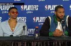 Russell Westbrook & Carmelo Anthony Press Conference - Game 1   Jazz at Thunder