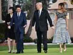 Melania Trump puts on a brave face as she and the president play host to Japan PM Shinzo Abe