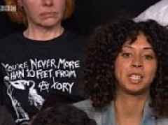 BBC Question Time audience member wears You're never more than 10 feet away from a Tory T-shirt