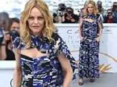 Cannes Film Festival: Vanessa Paradis wears a blue printed gown