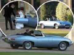 Prince Harry takes his new wife Meghan Markle out for a spin in electric Jaguar