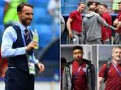 World Cup England Sweden players stride onto pitch in Samara ahead of World Cup Sweden clash