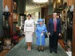 Donald Trump and wife Melania pose for picture with Queen complete with dog bowl in the corner