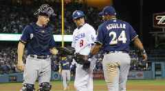 MLB Fines Dodgers SS Manny Machado for Kicking Brewers 1B Jesus Aguilar