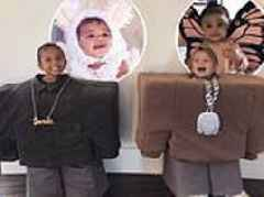 Saint West and Reign Disick dress up as Kanye and Lil Pump for Halloween