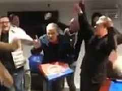 Pranksters throw surprise parties for pizza delivery men including dancing, music and cakes