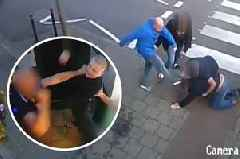 Hooligans clash on Cardiff street as rival football fans attack with bottles and repeatedly kick floored man in head