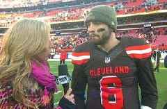 Baker Mayfield talks to Sara Walsh after the biggest win of his NFL career