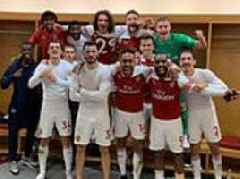 Pierre-Emerick Aubameyang leads the celebrations for Arsenal after derby victory