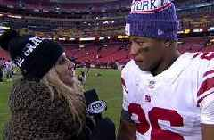 Saquon Barkley explains to Laura Okmin why his Giants 'family' loves playing together