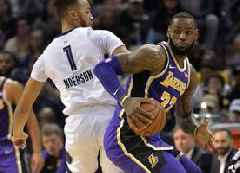 NBA: LeBron flirts with triple-double as Lakers down Grizzlies