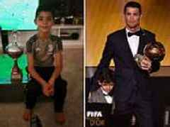 Cristiano Ronaldo posts picture of his son posing with trophy he won with Juventus U9s