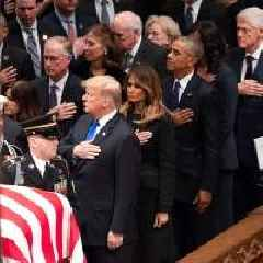Trump's Hand Was Over Heart at Bush Funeral