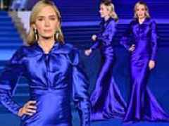 Emily Blunt looks practically perfect in a sweeping silk blue gown for Mary Poppins Returns premiere