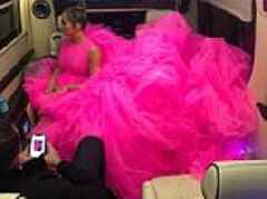 Jennifer Lopez struggles to fit her GIANT couture gown into a stretch limousine