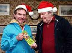 Two retired Royal Mail workers have exchanged the same Christmas card for 43 years