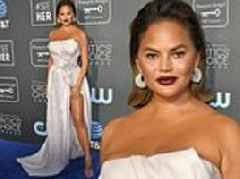 Chrissy Teigen glams up for Critics Choice Awards after 'rough' night celebrating John's birthday