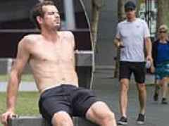 Andy Murray sunbathes while talking to mother Judy after emotional Australian Open exit