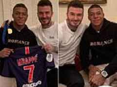David Beckham toasts France's World Cup glory as he has breakfast with PSG star Mbappe