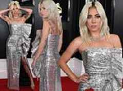 Lady Gaga dazzles in strapless silver metallic gown as she arrives to Grammy Awards red carpet