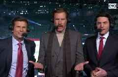 Legendary Ron Burgundy joins the booth for an LA Kings win vs San Jose