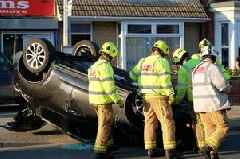 Car left upside down after crash on Wellington Street in Grimsby