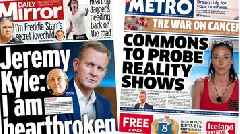 Newspaper headlines: Reality show probe and Kyle 'heartbroken'
