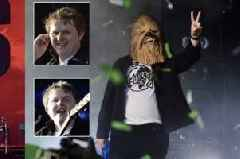 Lewis Capaldi makes iconic TRNSMT entrance in Chewbacca mask mocking bitter Noel Gallagher