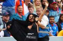 Cricket World Cup final between England and New Zealand brought to a halt by scantily clad pitch invader