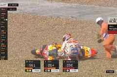 MotoGP stars Valentino Rossi and Marc Marquez crash during chaotic qualifying
