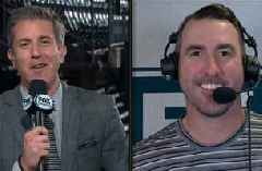 Justin Verlander talks with MLB on FOX crew following Houston's Game 2 win of ALCS