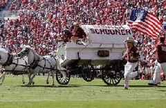 Oklahoma's Sooner Schooner wagon flips over in scary crash