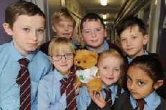 Space travelling teddy returns to Newmains school after month on space station