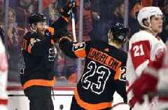 Couturier, Laughton help Flyers rout Red Wings 6-1