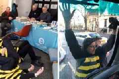 Protesters pretending to be bees glue themselves to Brexit Party office in Grimsby and Nigel Farage battle bus