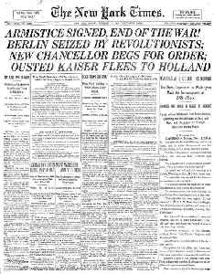 Armistice Day: Commemoration on November 11 of the armistice signed between the Allies of World War I and Germany in 1918