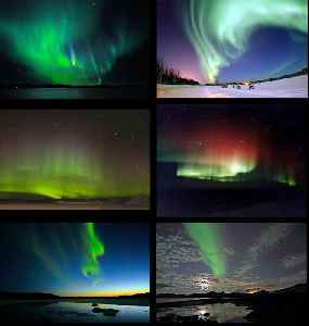 Aurora: Natural light display that occurs in the sky, primarily at high altitude (near the Arctic and Antarctic)