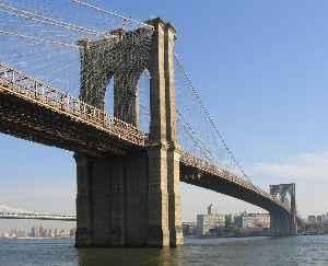 Brooklyn Bridge: Hybrid cable-stayed/suspension bridge across the East River between Manhattan and Brooklyn, New York
