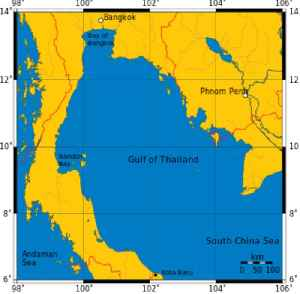 Gulf of Thailand: A shallow inlet in the western part of the South China Sea