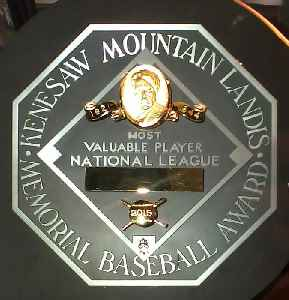 Major League Baseball Most Valuable Player Award: Baseball award given to the most important player in each of the Major Leagues