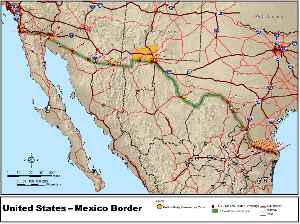 Mexico–United States border: International border between the two countries in North America