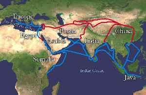 Silk Road: Trade routes through Asia connecting Chinza to the Mediterranean Sea