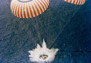 Splashdown: Method of landing a spacecraft by parachute in a body of water