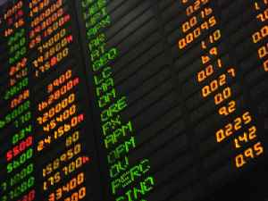Stock market: Public entity for the trading of company stocks and shares