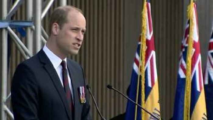 Prince William at National Memorial Arboretum for D-Day service