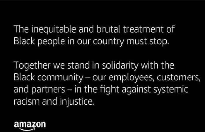 Amazon tweeted an extraordinary statement about the 'inequitable and brutal treatment of Black people' in support of George Floyd protesters (AMZN) thumbnail